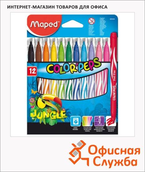 фото: Фломастеры для рисования Jungle 12 цветов смываемые