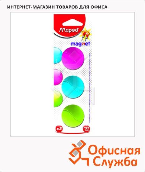 Магниты Maped Magnet d=37мм, 3шт/уп, ассорти, 053700