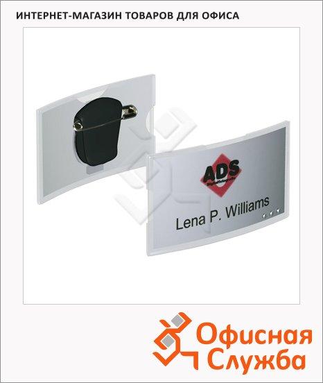 Бейдж с клипом и булавкой Durable Combi-Clip 40х75мм, 8124-19, 25 шт/уп