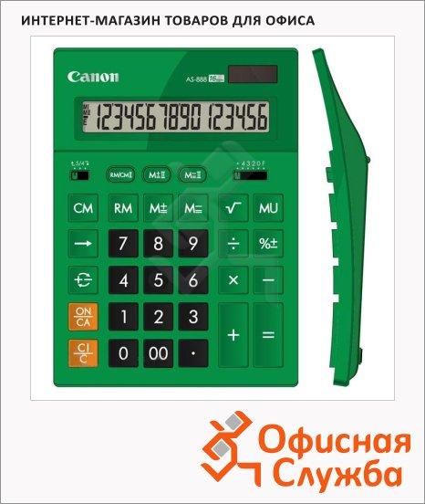 Калькулятор настольный Canon AS 888 зеленый, 16 разрядов