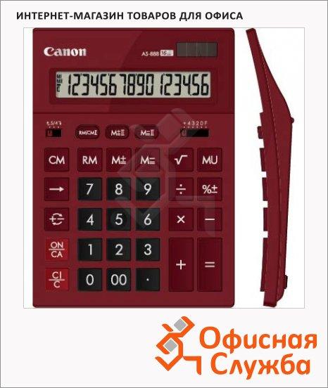 Калькулятор настольный Canon AS 888 бордовый, 16 разрядов