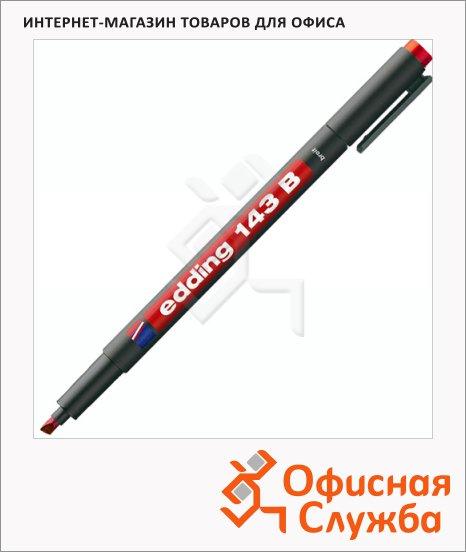 фото: Маркер для пленок перманентный 143В красный 1-3мм, скошенный наконечник, для деликатных гладких поверхностей