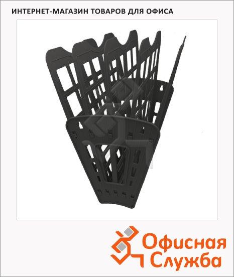 Лоток для бумаг Оскол-Пласт Веер эконом А4, 5 секций, черный