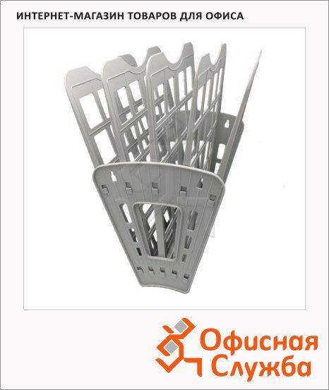 Лоток для бумаг Оскол-Пласт Веер эконом А4, 5 секций, серый