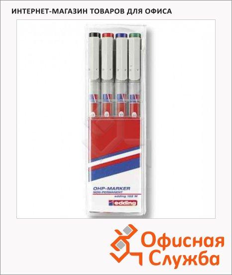 Маркер для пленок Edding 152М набор 4 цвета, 1мм, круглый наконечник, для деликатных гладких поверхностей