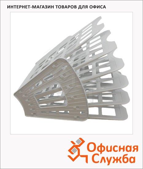 фото: Лоток для бумаг Оскол-Пласт Веер эконом А4 6 секций, серый