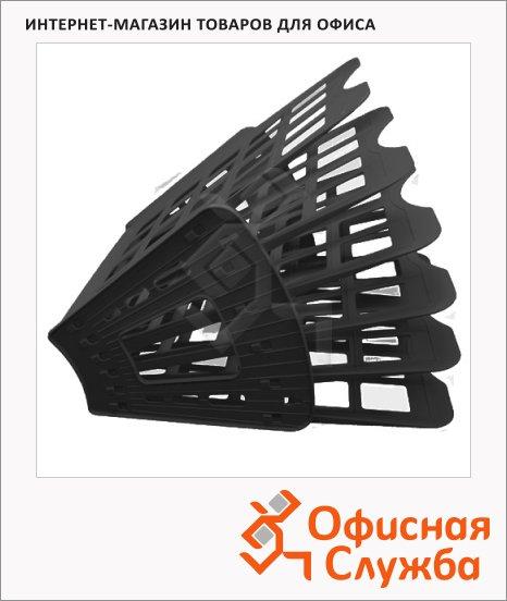 Лоток для бумаг Оскол-Пласт Веер эконом А4, 6 секций, черный
