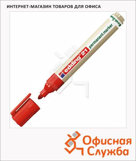 фото: Маркер перманентный Edding ECO 21 красный 1.5-3мм, круглый наконечник, универсальный, без запаха