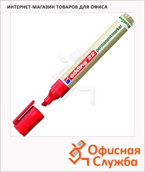 Маркер перманентный Edding ECO 22 красный, 1-5мм, скошенный наконечник, универсальный, без запаха