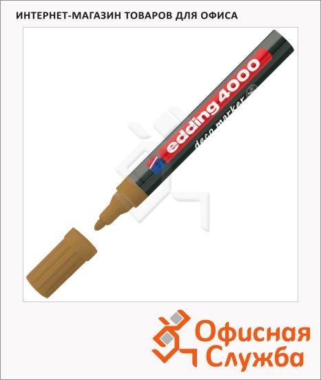 фото: Маркер лаковый Edding 4000 коричневый 2-4мм, круглый наконечник, декоративный, для дерева и керамики