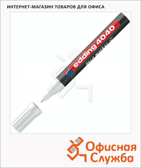 Маркер лаковый Edding 4040 белый, 1-2мм, круглый наконечник, декоративный, для дерева и керамики