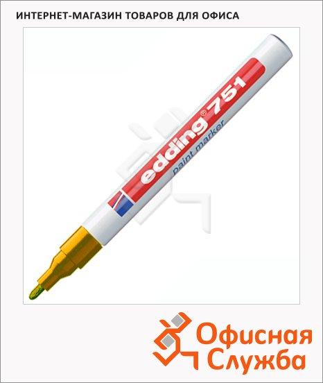 фото: Маркер промышленный перманентный Edding 751 оранжевый 1-2мм, круглый наконечник, универсальный, лаковый
