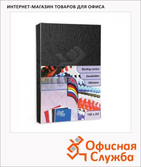 фото: Обложки для переплета картонные Profioffice черные А4, 270 г/кв.м, 100шт, 29002