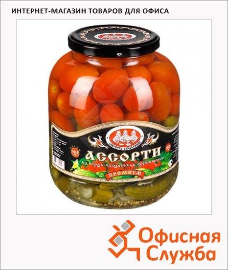 Консервированные овощи Скатерть-Самобранка ассорти из корнишонов и черри, 500мл