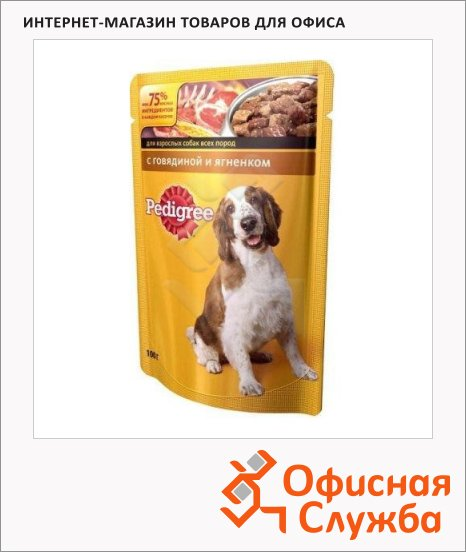 Влажный корм для собак Pedigree с говядиной и ягненком, 100г