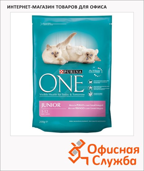 фото: Сухой корм для котят Purina One с курицей и злаками 200г