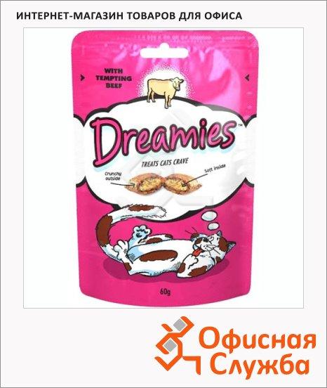 Лакомые подушечки для кошек Dreamies с говядиной, 60г