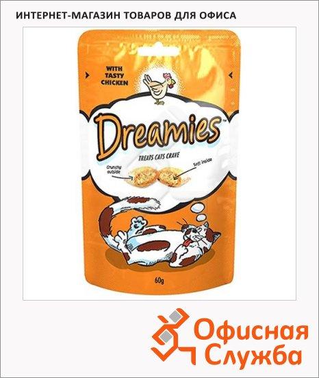 Лакомые подушечки для кошек Dreamies с курицей, 60г
