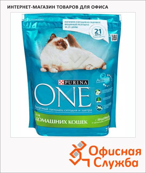 фото: Сухой корм для кошек Purina One с индейкой и злаками 750г