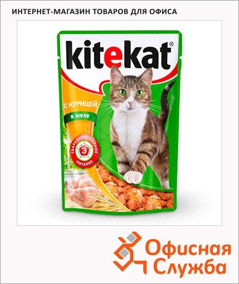 Влажный корм для кошек Kitekat с курицей в желе, 100г