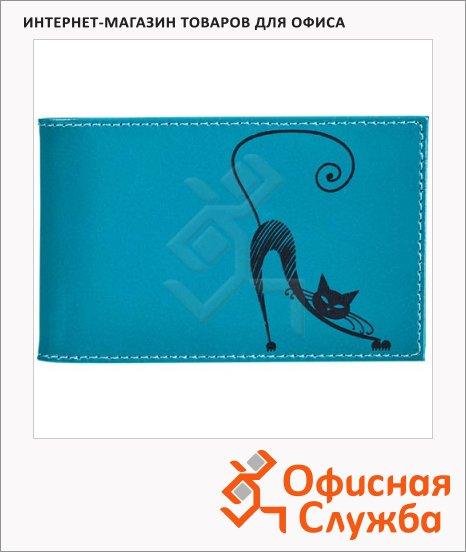 Визитница Befler Изящная кошка на 40 визиток, натуральная кожа, бюрюзовая