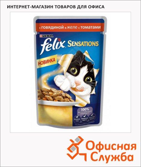 фото: Влажный корм для кошек Felix Sensations с говядиной в желе с томатами 85г