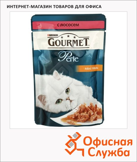 фото: Влажный корм для кошек Gourmet Perle мини-филе с лососем 85г