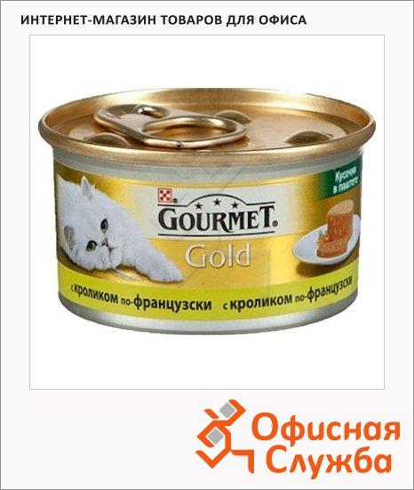 фото: Консервы для кошек Gourmet Gold кусочки в паштете с кроликом по-французски 85г, ж/б