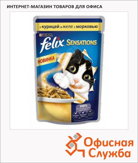фото: Влажный корм для кошек Felix Sensations с курицей в желе с морковью 85г