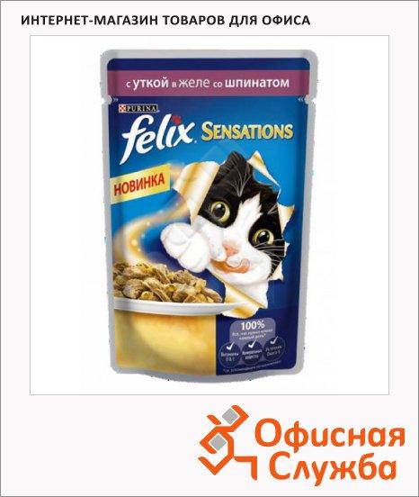 фото: Влажный корм для кошек Felix Sensations с уткой в желе со шпинатом 85г