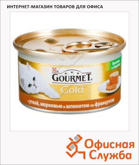 фото: Консервы для кошек Gourmet Gold кусочки в паштете с уткой/ морковью/ шпинатом по-французски 85г, ж/б