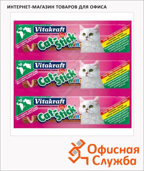 Лакомство для кошек Vitakraft Cat-Stick mini колбаски с гусем и уткой, 12г