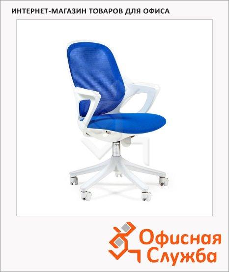 Кресло офисное Chairman 820 ткань, крестовина пластик, белая, голубая