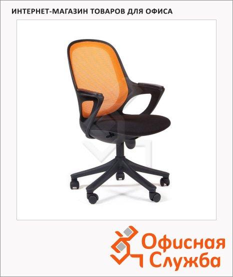 Кресло офисное Chairman 820 ткань, крестовина пластик, черная, оранжевая