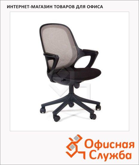Кресло офисное Chairman 820 ткань, крестовина пластик, черная, серая