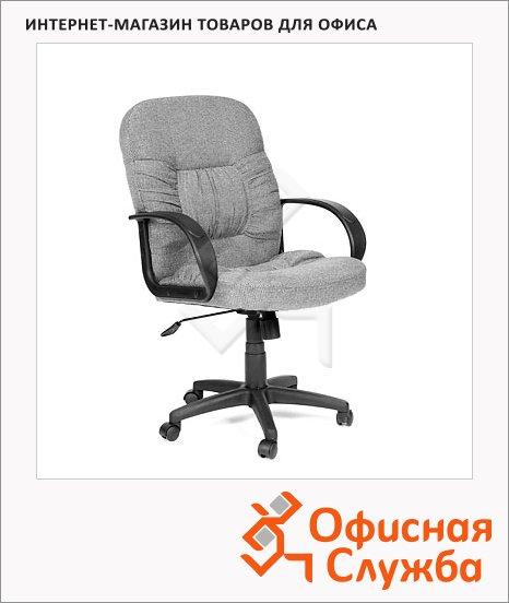 фото: Кресло руководителя 416-M ткань черная, крестовина пластик, низкая спинка, серая
