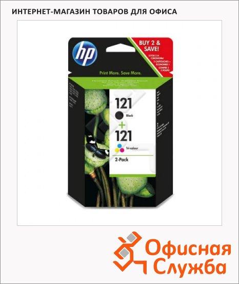 фото: Картридж струйный 121 CN637HE трехцветный++черный, 2шт/уп