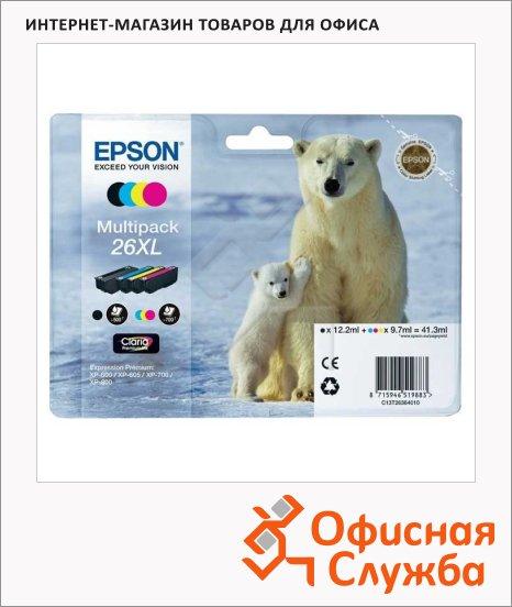 Картридж струйный Epson C13T2636 4010, 4 цвета, 4шт/уп