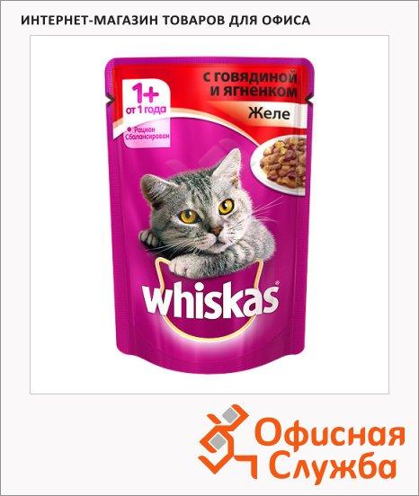 Влажный корм для кошек Whiskas Желе с говядиной и ягненком, 85г