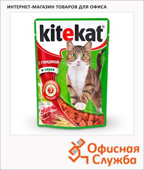 Влажный корм для кошек Kitekat с говядиной в соусе, 100г