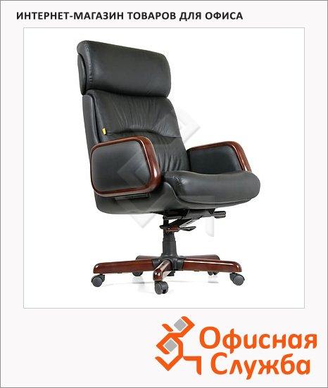 Кресло руководителя Chairman 417 нат. кожа, черная, крестовина дерево