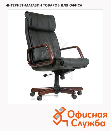 Кресло руководителя Chairman 419 нат. кожа, черная, крестовина дерево