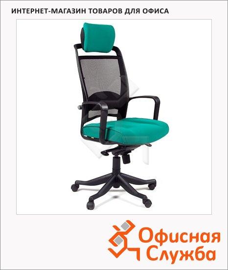 фото: Кресло руководителя 283 ткань крестовина пластик, зеленая