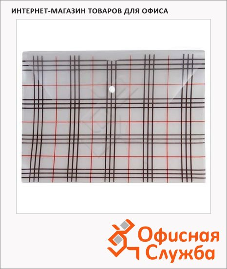 фото: Папка-конверт на кнопке Бюрократ Клетчатая прозрачная А4, PK801TCLEAR