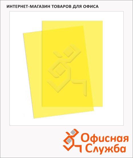 фото: Обложки для переплета пластиковые Fellowes Transparent желтые А4, 200 мкм, 100шт, FS-5377001