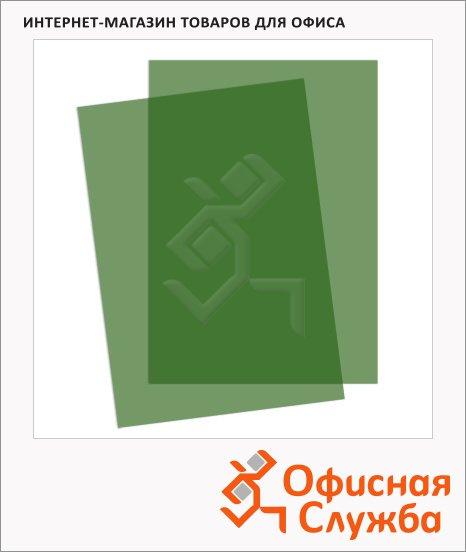 Обложки для переплета пластиковые Fellowes Transparent зеленые, А4, 200 мкм, 100шт, FS-5377301
