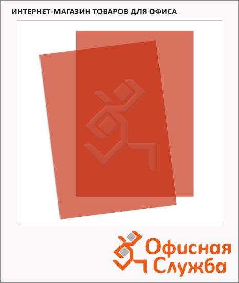 Обложки для переплета пластиковые Fellowes Transparent красные, А4, 200 мкм, 100шт, FS-5377201