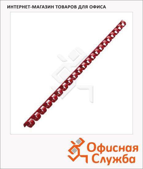 Пружины для переплета пластиковые Fellowes красные, на 60-90 листов, 12мм, 100шт, кольцо, FS-53464