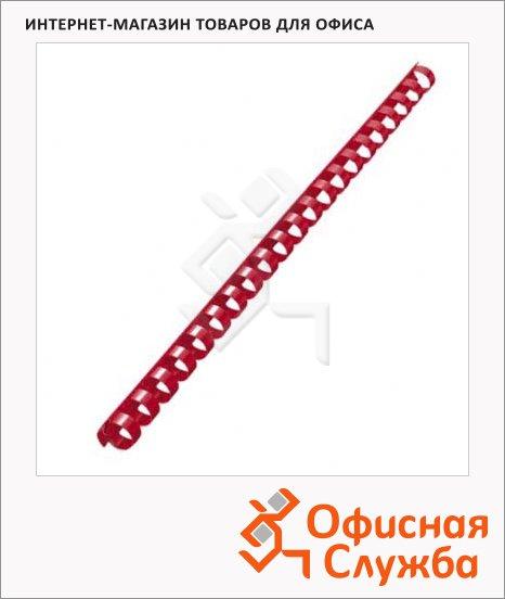 фото: Пружины для переплета пластиковые красные на 120-130 листов, 16мм, 100шт, кольцо, FS-53472