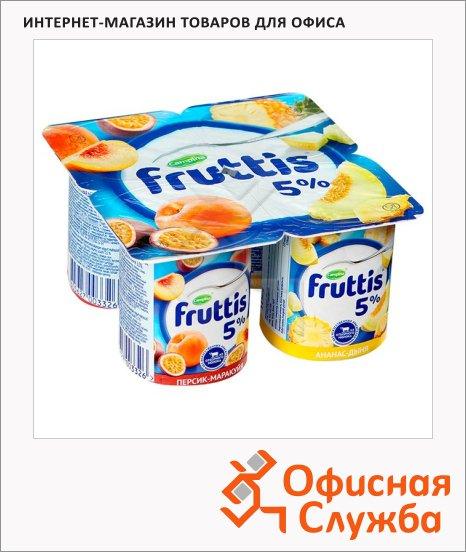 фото: Йогурт Fruttis Сливочное лакомство персик-маракуя-ананас-дыня 5%, 115г